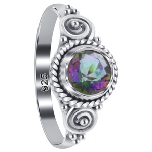 Mystic Fire Topaz Gemstone Solitaire Women's Ring