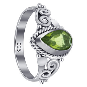 Sterling Silver Pear Shape Peridot Gemstone Ring