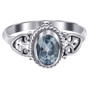 Sterling Silver Oval Blue Topaz Gemstone Ring