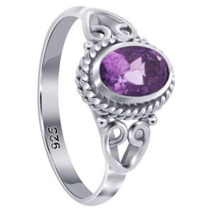 Oval Shape Amethyst Gemstone Bali Women's Ring