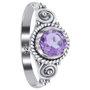 Amethyst Gemstone Bali Design Solitaire Women's Ring