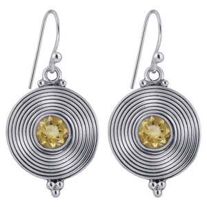 925 Silver Round Disk Citrine Stone Drop Earrings