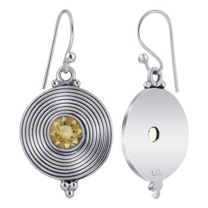 925 Sterling Silver Round Disk Citrine Stone Bezel Setting Drop Earrings for women