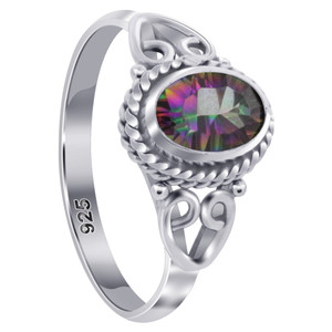 Sterling Silver Oval Shape Mystic Topaz Gemstone Ring