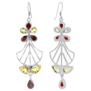 Citrine Garnet Bali Design Drop Earrings