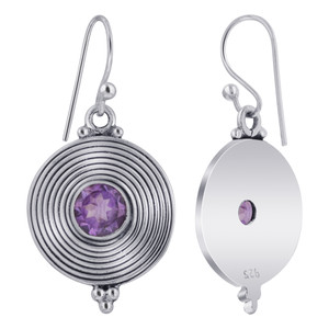 French Hook Round Disk Amethyst Stone Bezel Setting Earrings