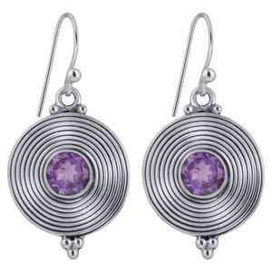 925 Silver Round Disk Amethyst Stone Earrings
