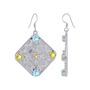 925 Silver Citrine Blue Topaz Bali Design Drop Earrings
