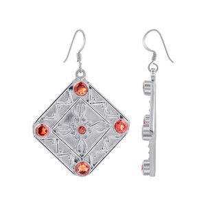 Garnet Gemstones Bali Design Drop Earrings for women