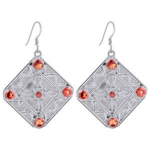 925 Silver Garnet Gemstones Drop Earrings
