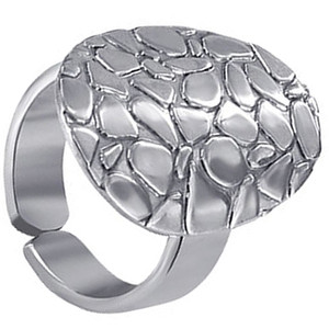 925 Sterling Silver Oval Texture Ring