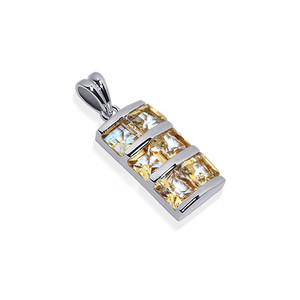 Rhodium Plated Sterling Silver Princess Cut Pendant