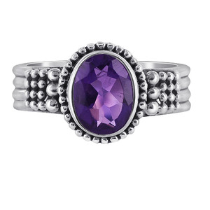 Sterling Silver Oval Amethyst Gemstone Solitaire Ring