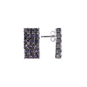 Sterling Silver Amethyst Gemstone Rectangular Drop Earrings