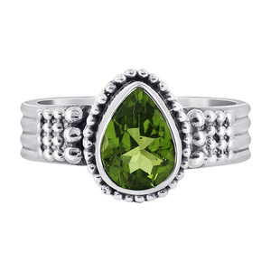 Peridot Gemstone Solitaire Womens Ring