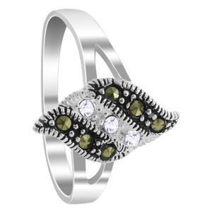 925 Sterling Silver 1mm Clear Cubic Zirconia and Marcasite Ring