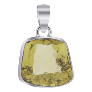 Bezel Setting Lemon Quartz in 925 Sterling Silver Pendant