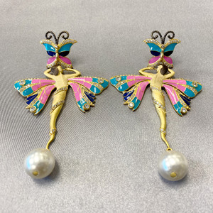 Gold Plated Handmade Multi Enamel Ballerina Designer Bollywood Indian Dangle Earrings