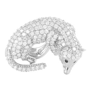 925 Silver Cubic Zirconia Mounted Full Body Fox Ring