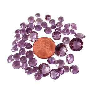 Assorted Size Round Cut Amethyst 50 CTW Gemstone Eye Clean Quality