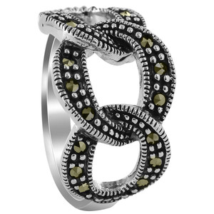 Sterling Silver Marcasite Triple Hoop Design Ring