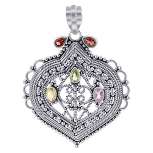 925 Silver Amethyst, Peridot and Citrine Gemstone Pendant