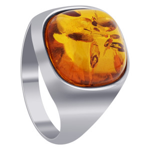 Sterling Silver Natural Orange Baltic Amber Mens Ring