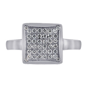 925 Silver Square Micro Pave set Cubic Zirconia Ring