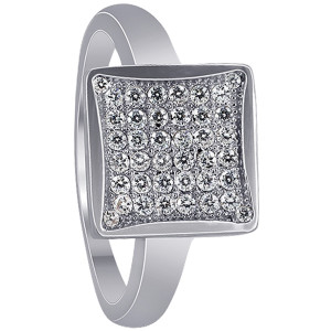 925 Sterling Silver Square Micro Pave set Cubic Zirconia Ring