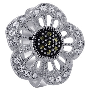 925 Sterling Silver Clear Cubic Zirconia Flower with Marcasite Ring