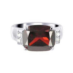 Sterling Silver Garnet Color Cubic Zirconia