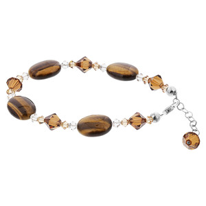 Oval Swarovski Elements Crystal Tiger Eye Bracelet