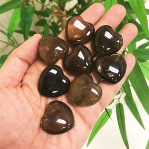 Smokey Quartz Gemstone 30mm Puff Hearts