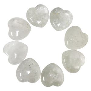 Clear Quartz Gemstone 30mm Puff Hearts