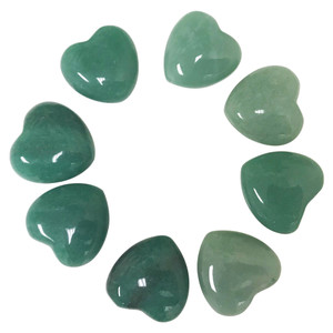 Aventurine Gemstone 30mm Puff Hearts