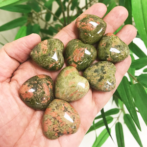 Unakite Gemstone 30mm Puff Hearts
