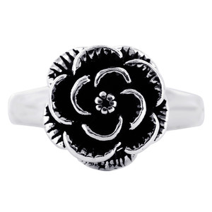 925 Sterling Silver Oxidized Rose Ring #R024