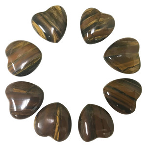 Tiger Eye Gemstone 30mm Puff Hearts