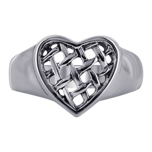 925 Sterling Silver Heart with Weaved design Rings #R028