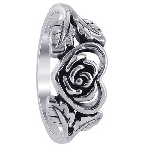 Sterling Silver Heart with Rose and Leaves Rings