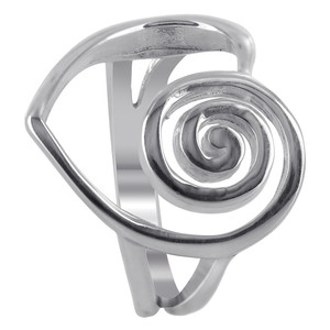 925 Sterling Silver Heart with Swirl on One Side Rings