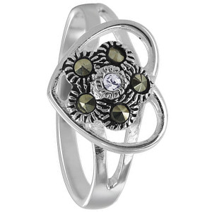 Sterling Silver Studded Flower Inside Heart Ring