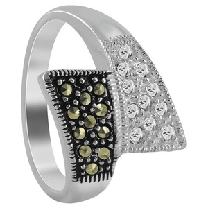 Sterling Silver Marcasite and Cubic Zirconia Pave set Ring