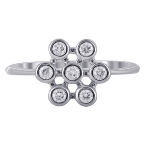 Sterling Silver Cubic Zirconia Flower Rings