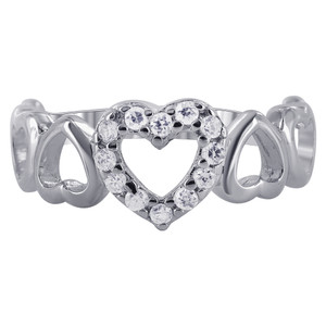 Cubic Zirconia Open Heart Rings