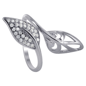 Sterling Silver wide Double Leaf Rings
