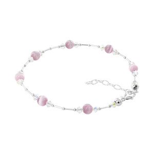 "Silver Swarovski 5mm Light Pink Cat Eye & Crystal Ankle 10.5"" Bracelet"