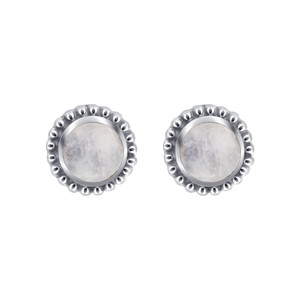 Labrodorite Gemstone Sterling Silver Bezel Set Post back Stud Earrings