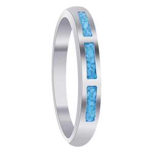 Turquoise Gemstone 3mm 925 Sterling Silver Band