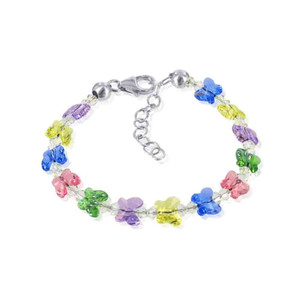 Sterling Silver with Swarovski Elements New Butterfly Multi Crystal Bracelet 5.5 inch